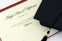 high school diploma and hat
