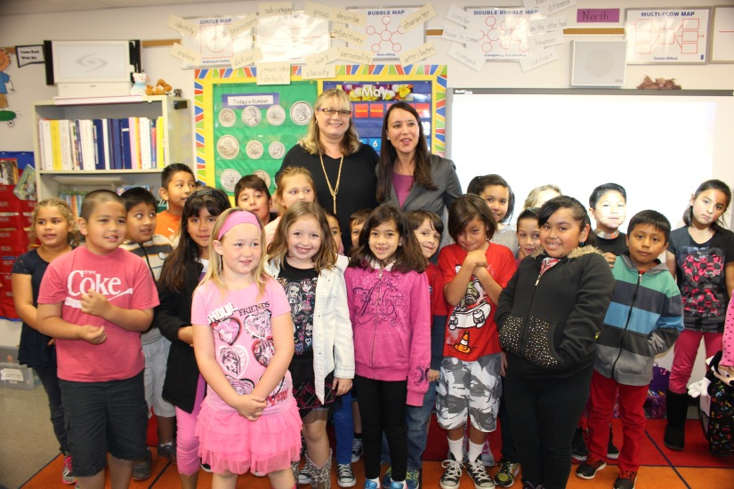 Orange County Teacher of the Year Lisa Moloney and class