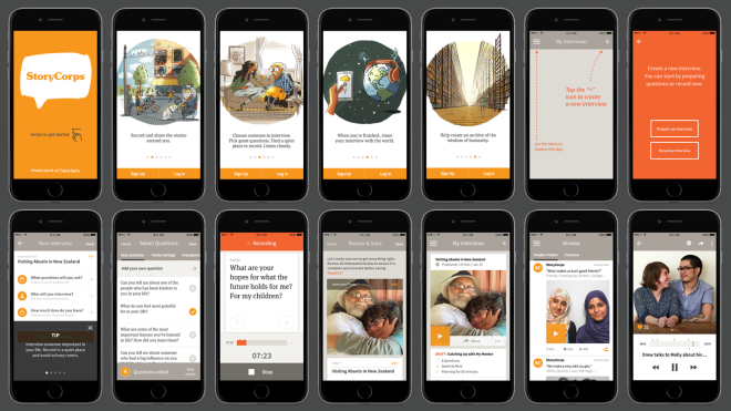 StoryCorps app screen shots